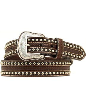 Nocona Tooled & Studded Overlay Belt, Brown, hi-res