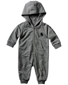 Carhartt Infant Boys' Grey Fleece Logo Graphic Hooded Coveralls , Grey, hi-res