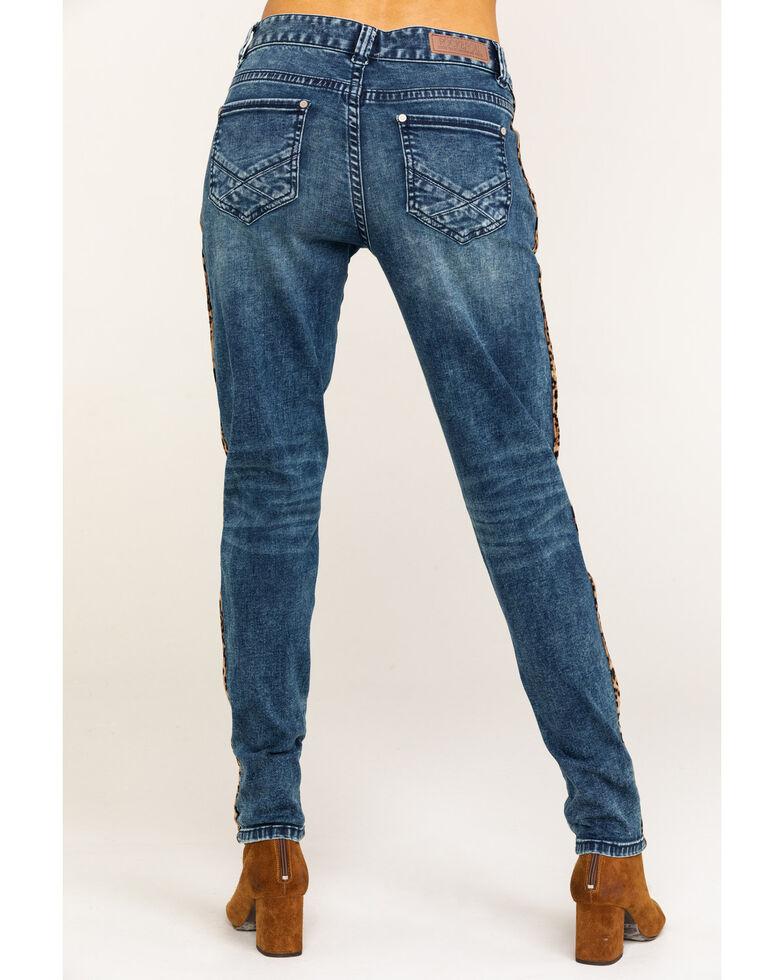 Rock & Roll Cowgirl Women's Boyfriend Skinny Leopard Trim Jeans, Blue, hi-res