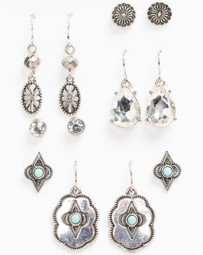 Shyanne Women's Bella Mini Concho 6 Pack Earring Set, Silver, hi-res