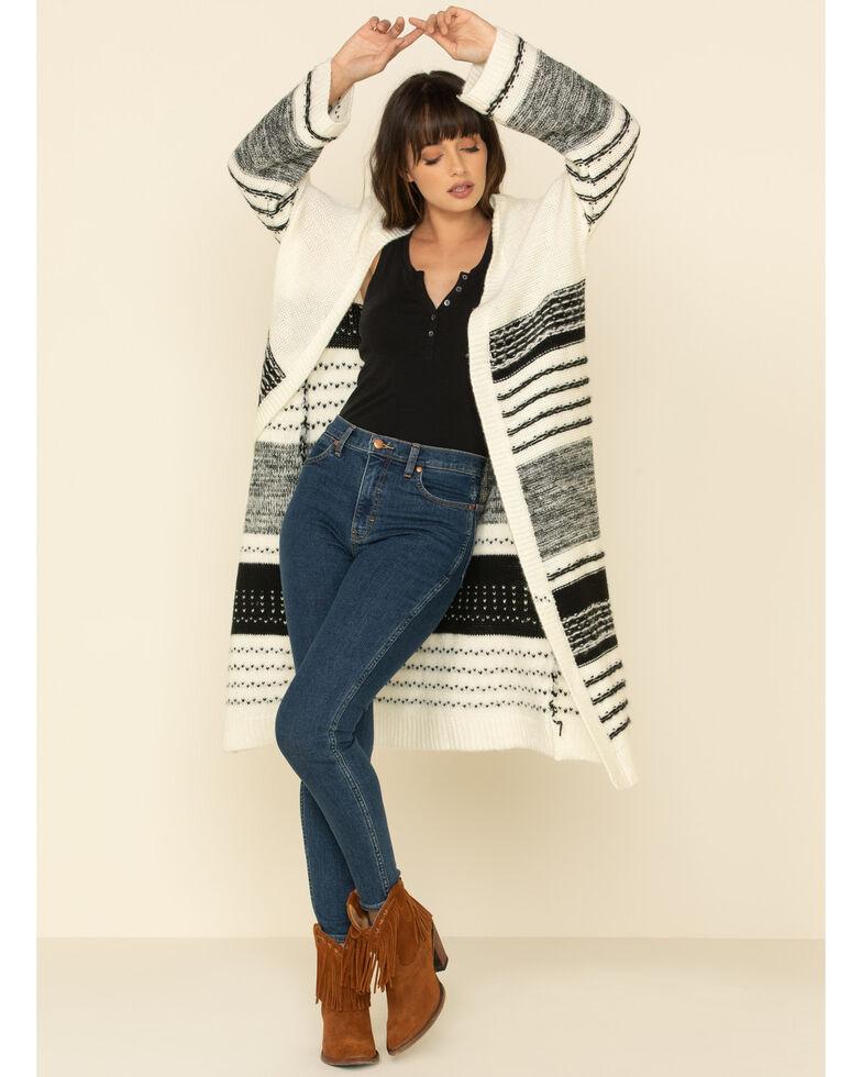 Sadie & Sage Women's Ivory Striped Long Cardigan , Ivory, hi-res