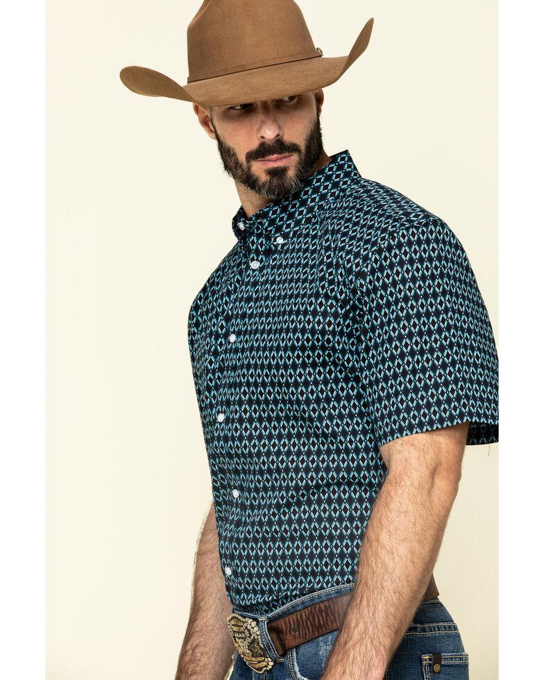 Cody James Core Men's High Roller Geo Print Short Sleeve Western Shirt , Black, hi-res