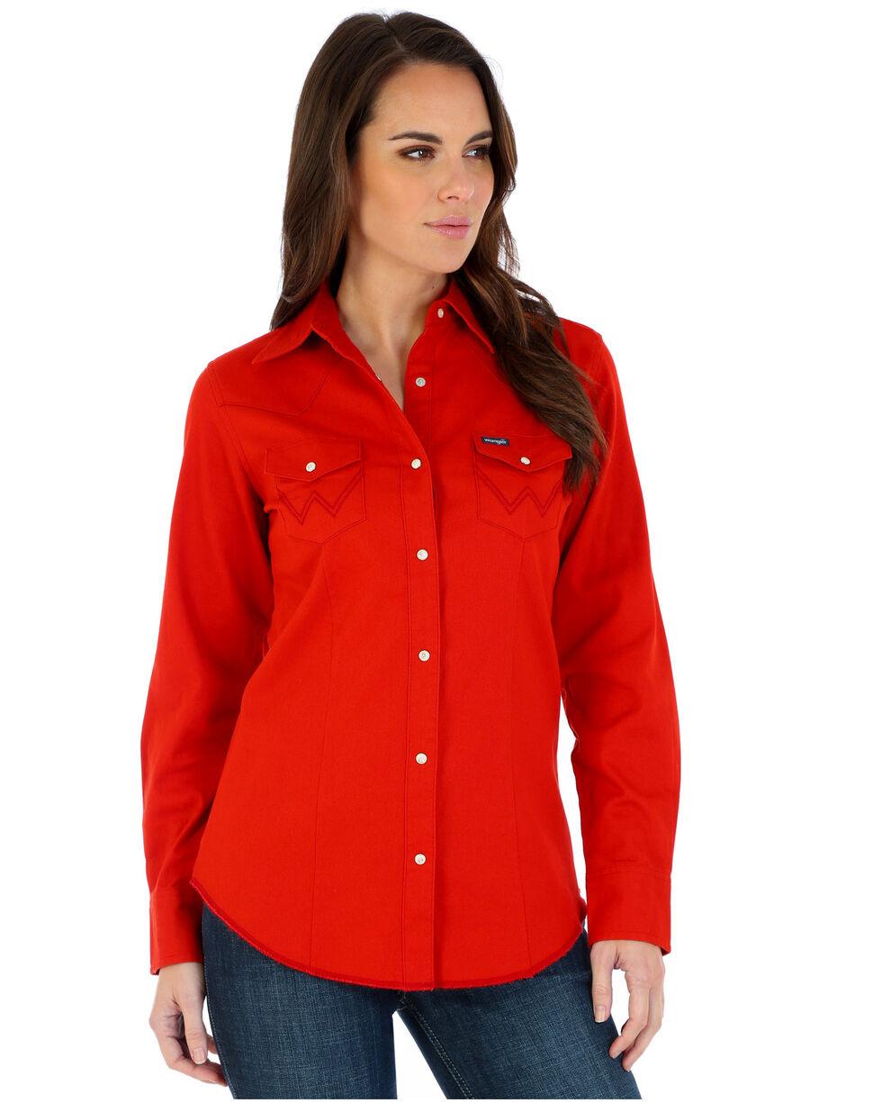 Wrangler Women's Red Long Sleeve Western Shirt, Red, hi-res