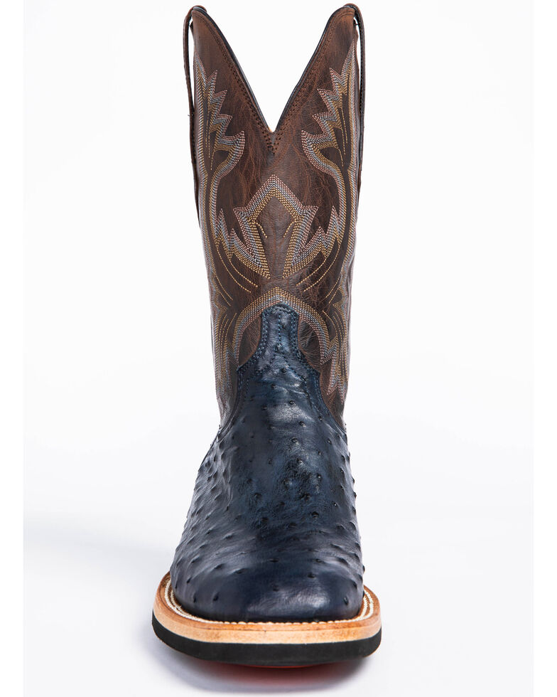 Lucchese Men's Cliff Exotic Ostrich Western Boots - Wide Square Toe, Navy, hi-res