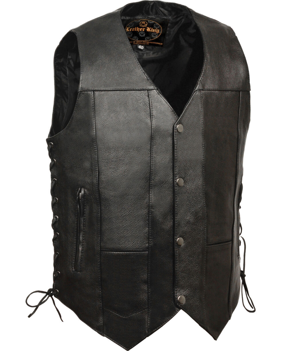 Milwaukee Leather Men's 10 Pocket Side Lace Vest, Black, hi-res