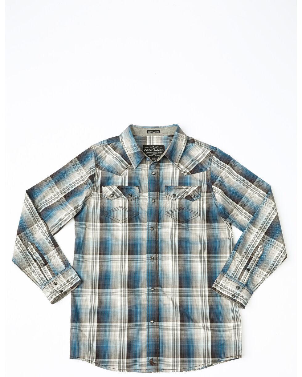 Cody James Boys' Maderas Large Plaid Long Sleeve Western Shirt , Blue, hi-res