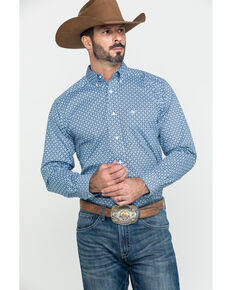 Ariat Men's Holden Geo Print Fitted Long Sleeve Western Shirt , Blue, hi-res