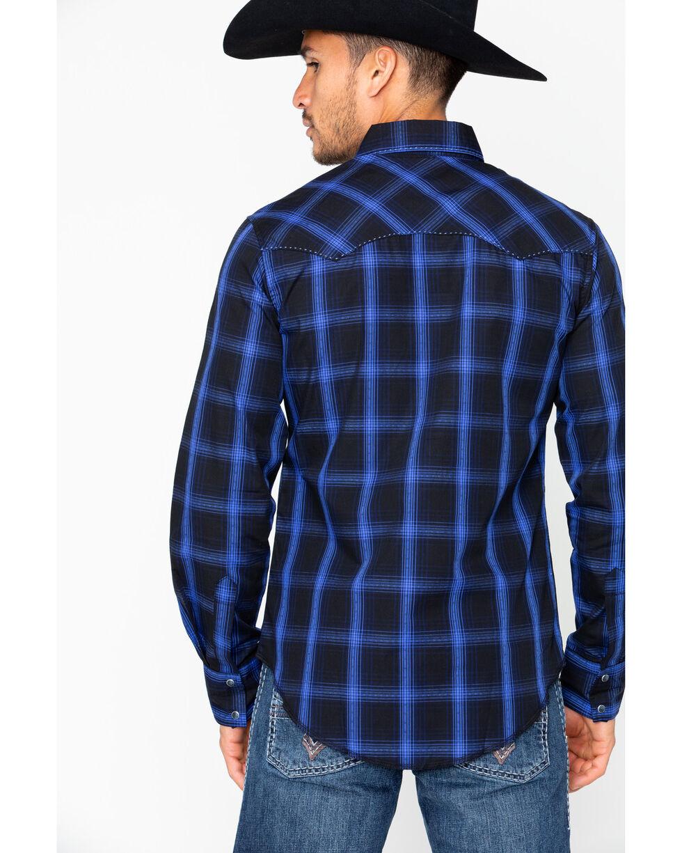 Wrangler Men's Fashion Snap Long Sleeve Plaid Shirt, Black, hi-res