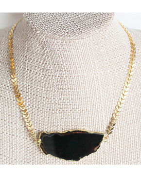 Everlasting Joy Jewelry Women's Black Ice Dance Necklace , Gold, hi-res