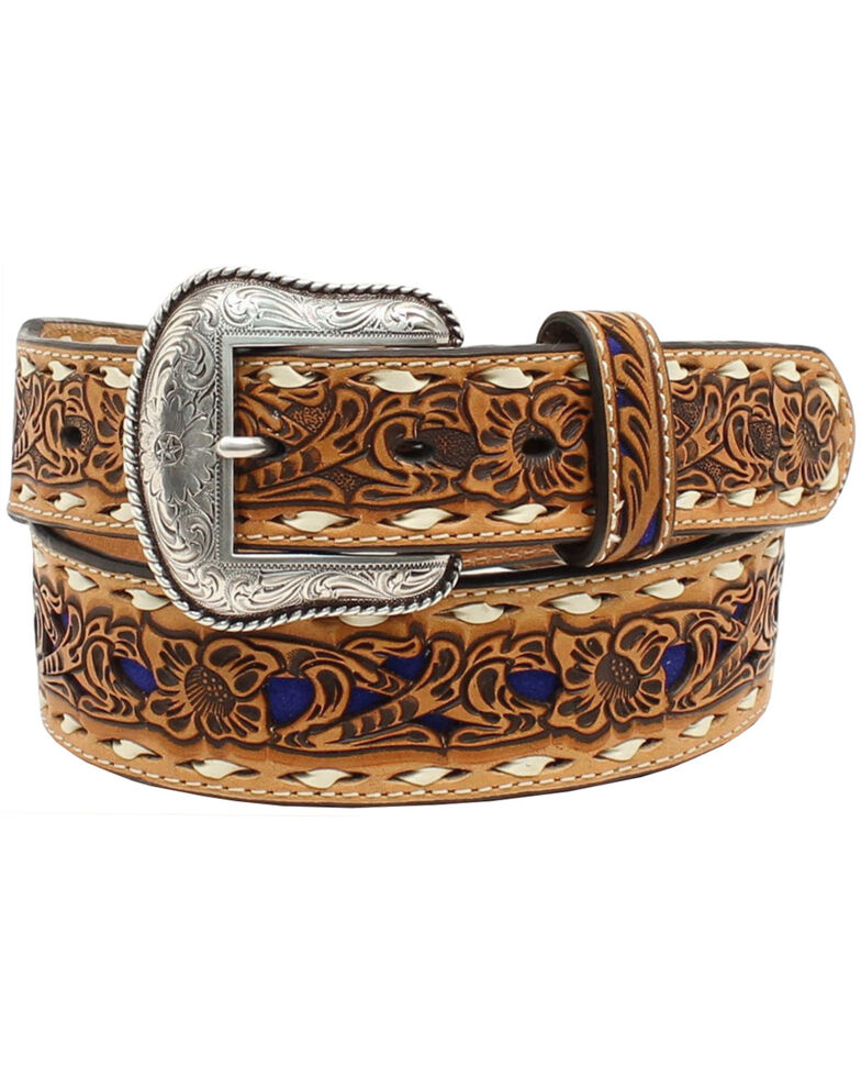 Nocona Women's Blue Floral Embossed Belt, Brown, hi-res