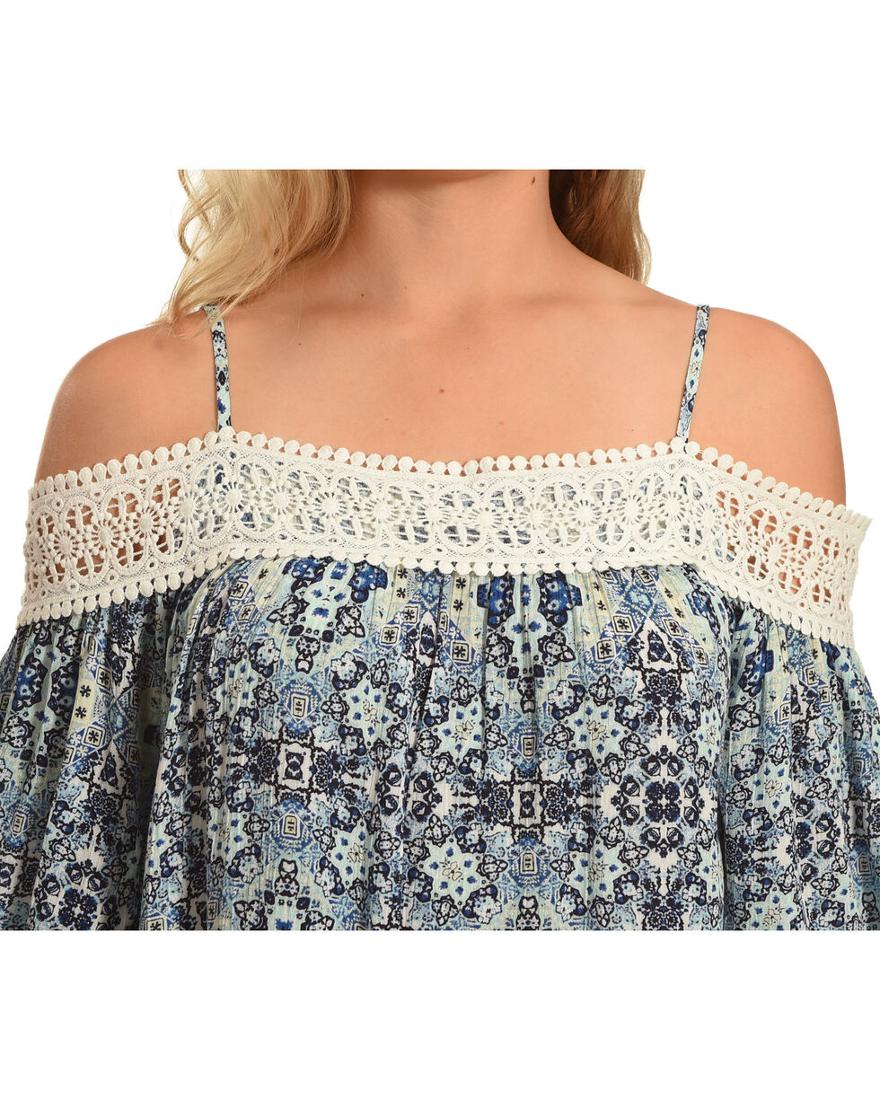 Derek Heart Women's Cold Shoulder Top with Crochet Detail, Blue, hi-res