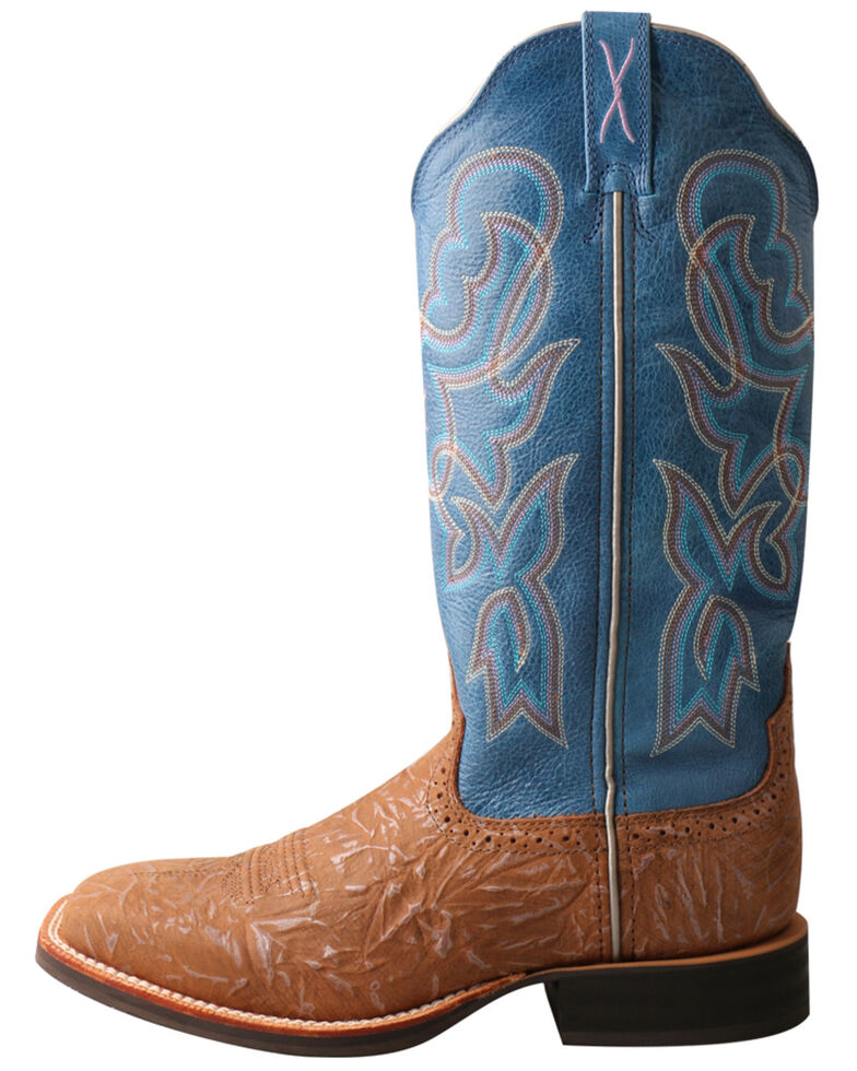 """Twisted X Women's 13"""" Tan & Sky Blue Ruff Stock Western Boots - Wide Square Toe, Tan, hi-res"""