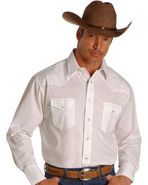 Wrangler Men's Polyester Broadcloth Dress Shirt, White, hi-res