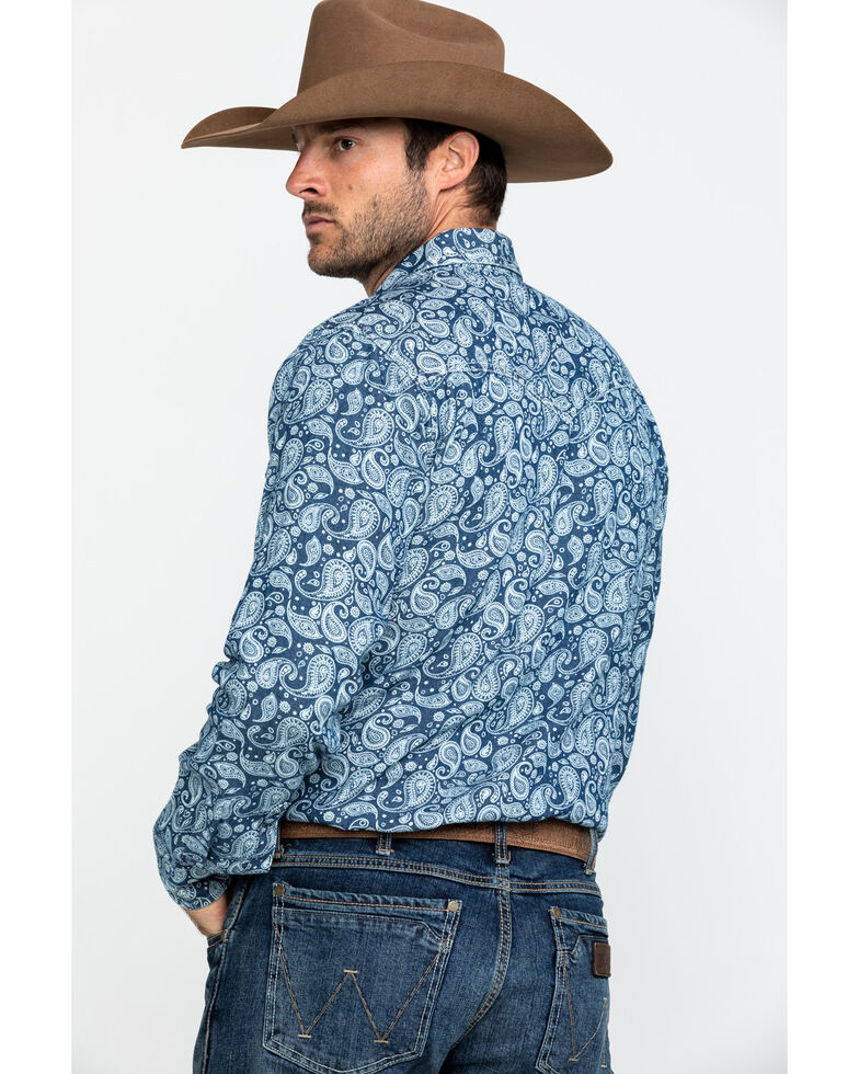 Wrangler Retro Men's Blue Paisley Print Long Sleeve Western Shirt - Tall , Blue, hi-res