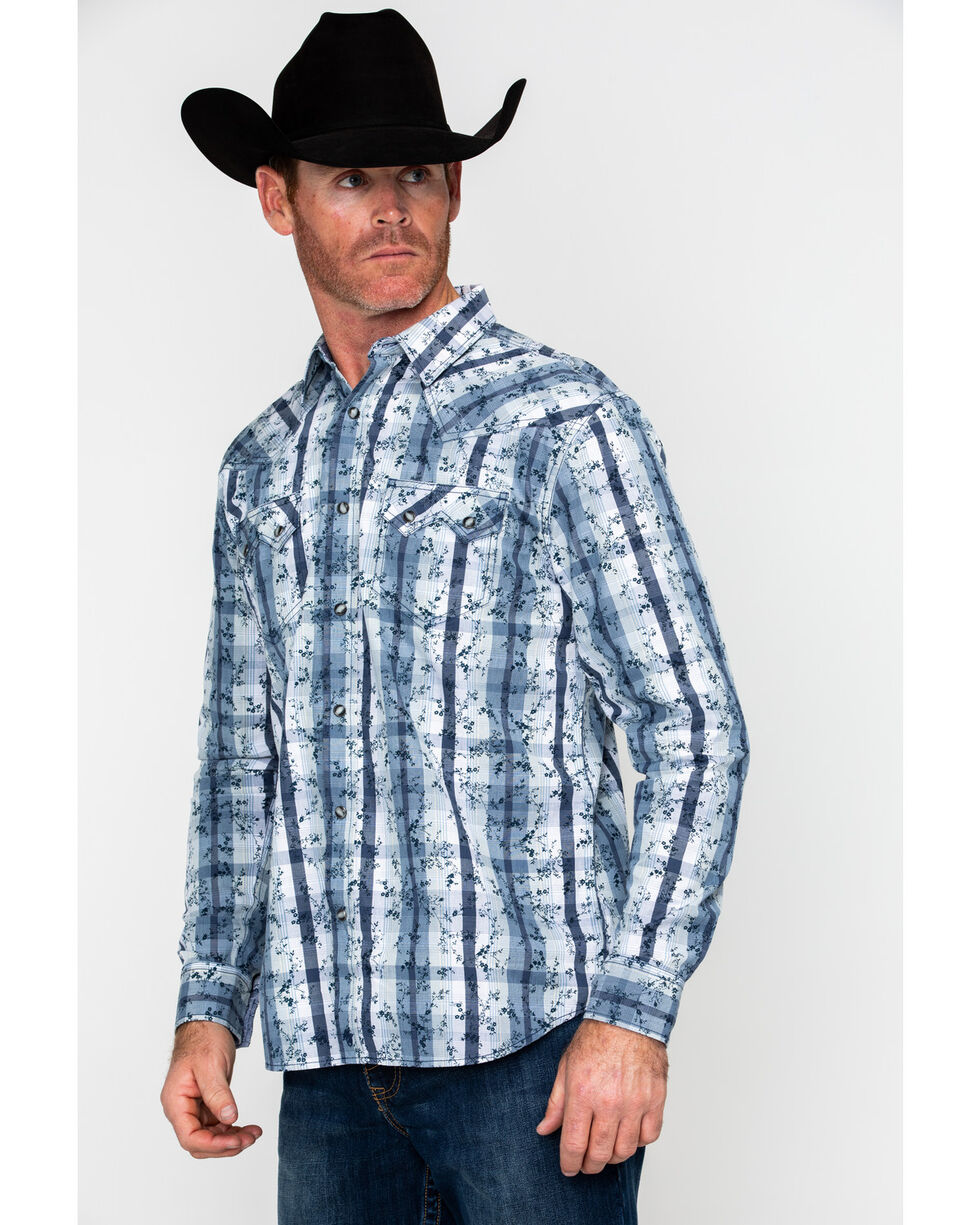 Moonshine Spirit Men's Meadowlark Plaid Long Sleeve Western Shirt , Blue, hi-res