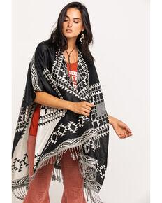 Shyanne Women's Multi Aztec Printed Shawl , Black, hi-res