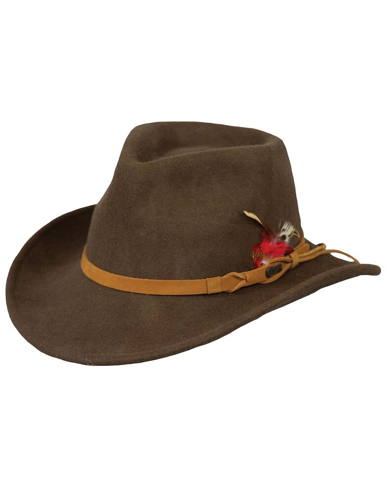 Outback Unisex Randwick Tassy Crusher Hat, Brown, hi-res