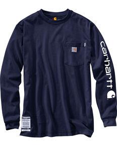 Carhartt Men's Flame Resistant Long Sleeve T-Shirt, Navy, hi-res