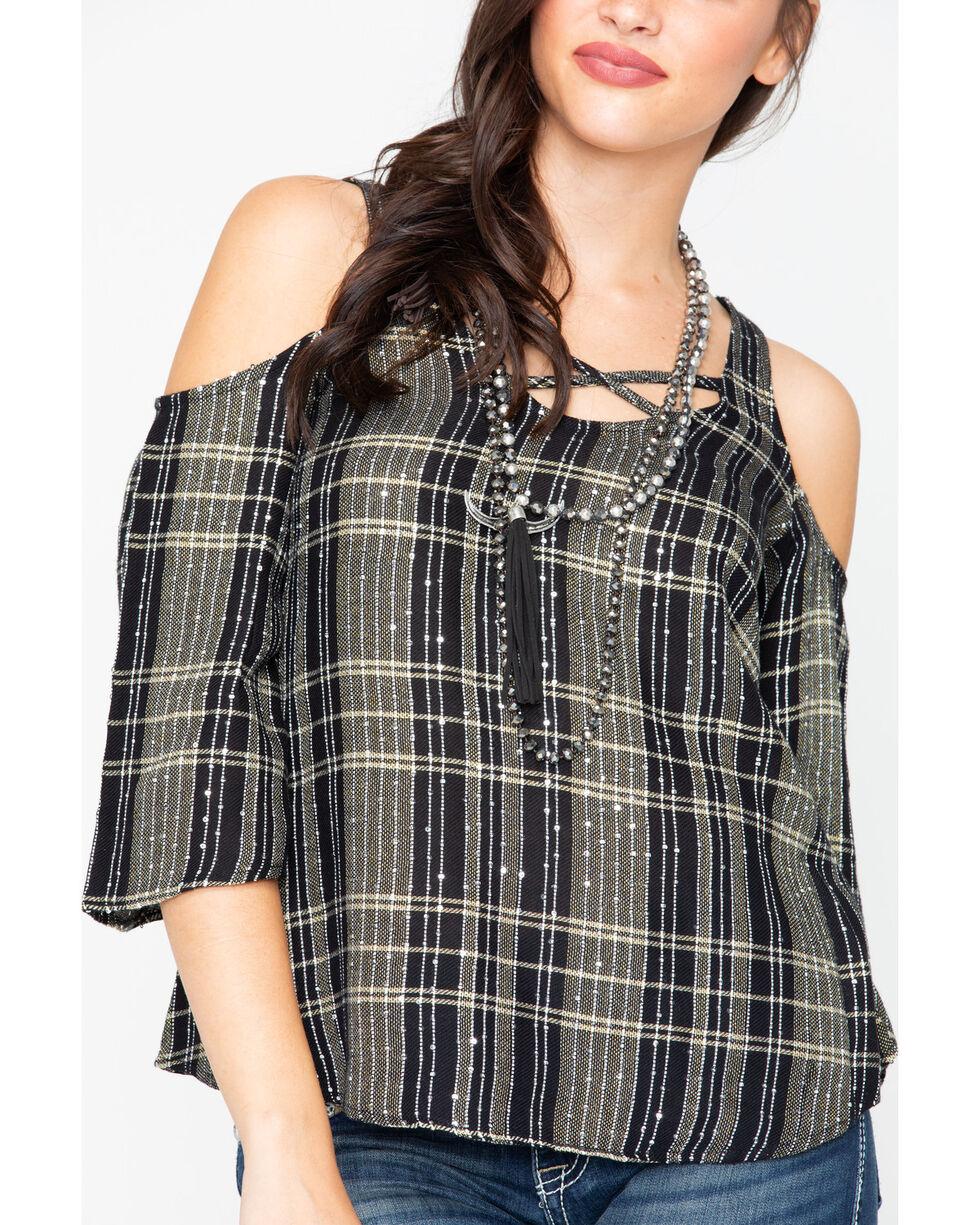 Shyanne Women's Lurex Cold Shoulder Top , Black, hi-res
