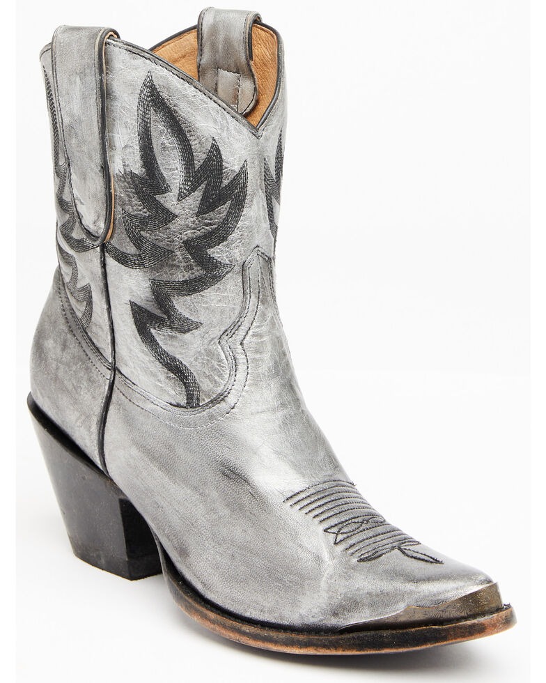 Idyllwind Women's Wheels Metallic Silver Western Booties - Round Toe, Silver, hi-res