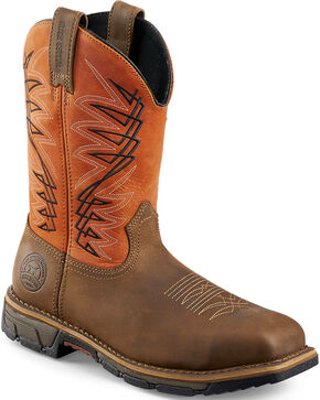 Red Wing Irish Setter Marshall Brown and Rust Work Boots - Soft Square Toe  , Brown, hi-res