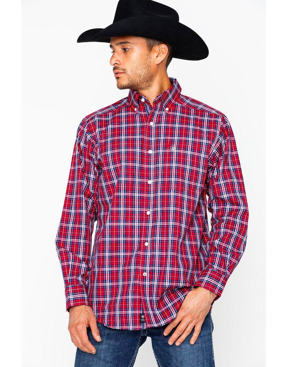 Ariat Men's Safrin Perf Long Sleeve Western Shirt , Red, hi-res