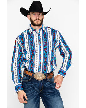 Wrangler Men's Grey Checotah Long Sleeve Western Shirt , Blue, hi-res