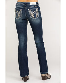 Miss Me Women's Great Heights Floral Wing Embroidered Boot Jeans , Medium Blue, hi-res