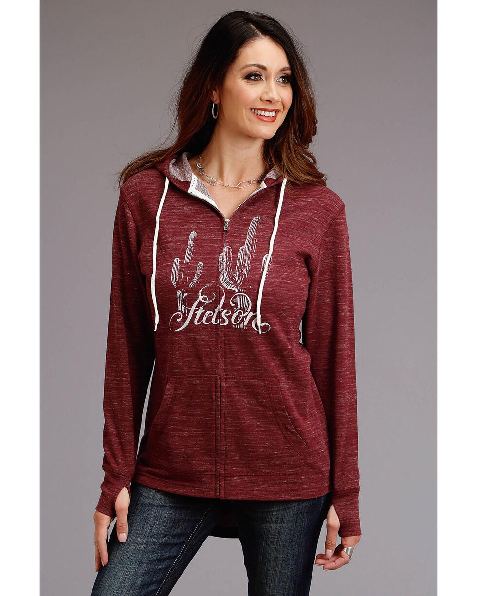 Stetson Women's Cactus Zipper Sweatshirt, Purple, hi-res