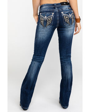 Miss Me Women's Velvet Wing Embroidered Gold Trim Boot Jeans  , Blue, hi-res