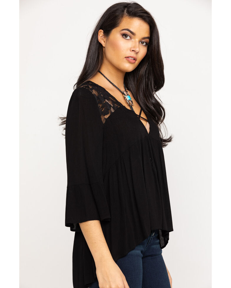 Red Label by Panhandle Women's Empire Lace Flared Sleeve Top , Black, hi-res