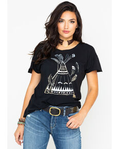 Tasha Polizzi Women's Feather Teepee Tee, Black, hi-res