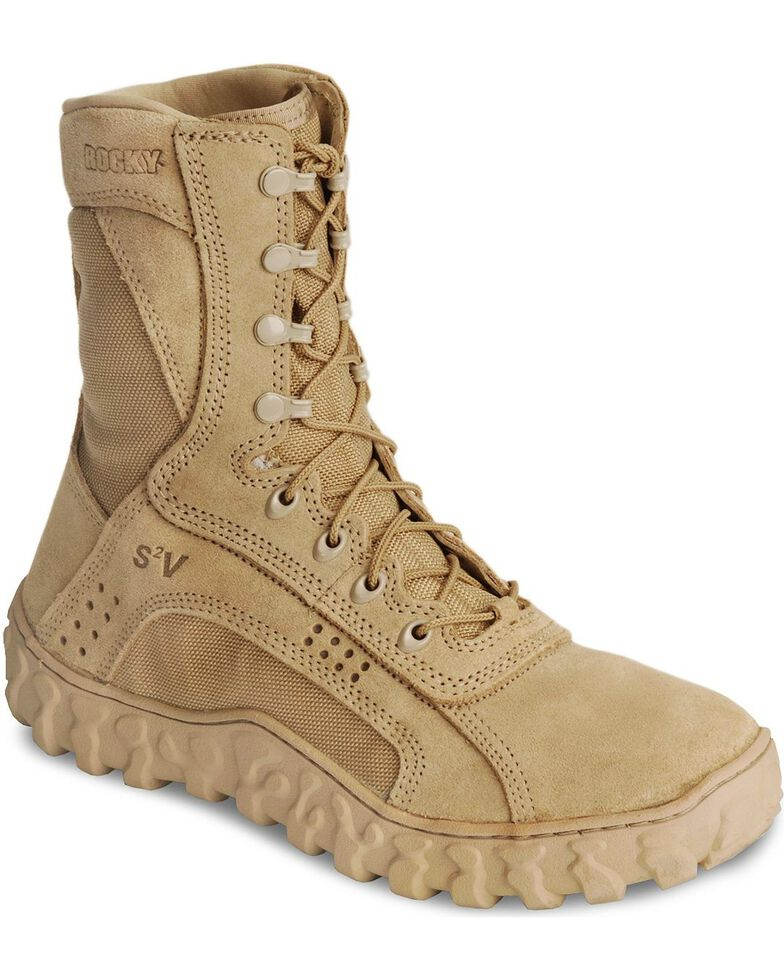 """Rocky S2V Vented 8"""" Lace-Up Military Boots - Round Toe, Brown, hi-res"""