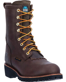 "McRae Men's 8"" Waterproof Electrical Hazard Logger Work Boot - Steel Toe, Dark Brown, hi-res"