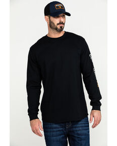 Cody James Men's Black FR Logo Long Sleeve Work Shirt - Tall , Black, hi-res