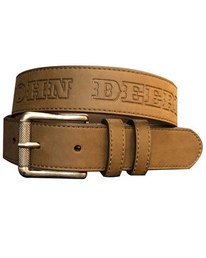 John Deere Boys' Brown Leather Embossed Belt , Brown, hi-res
