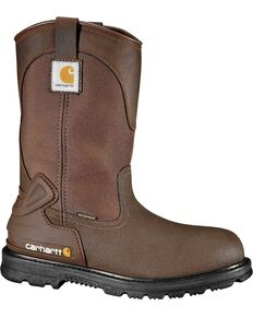 "Carhartt 11"" Bison Waterproof Mud Wellington Work Boots - Composite Toe, Brown, hi-res"