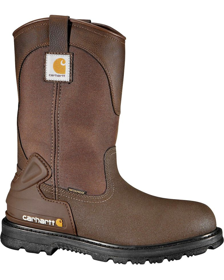 "Carhartt 11"" Bison Waterproof Mud Wellington Work Boots - Steel Toe, Brown, hi-res"