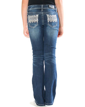 Grace in LA Girls' Ikat Embellished Pocket Jeans - Boot Cut , Blue, hi-res