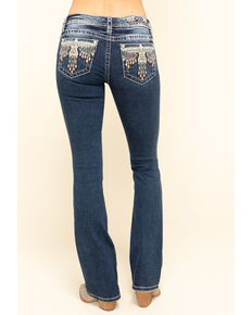 Miss Me Women's Boho Tribal Eagle Chloe Bootcut Jeans , Blue, hi-res