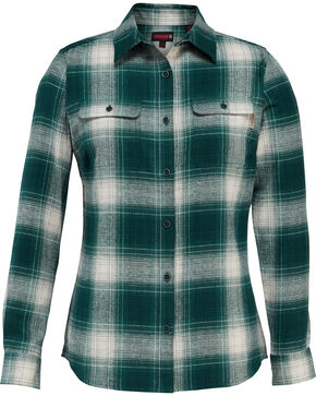 Wolverine Women's Aurora Flannel Work Shirt , Light Green, hi-res