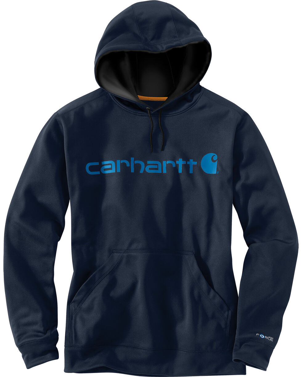 Carhartt Men's Force Extremes Signature Hooded Sweatshirt, Navy, hi-res