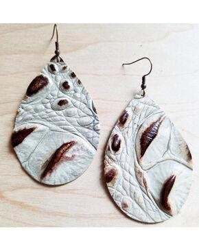 Jewelry Junkie Women's Brown & Cream Teardrop Leather Earrings, Multi, hi-res