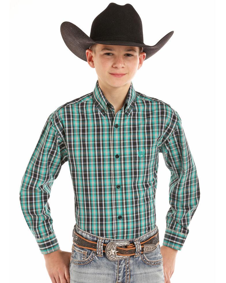 Panhandle Select Boys' Poplin Yarn Dye Check Plaid Long Sleeve Western Shirt , Green, hi-res