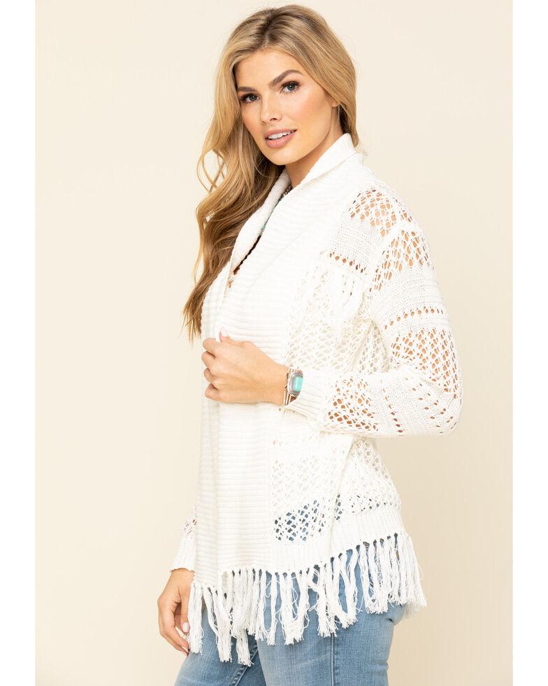 Idyllwind Women's No Chill Fringe Crochet Cardigan, Cream, hi-res