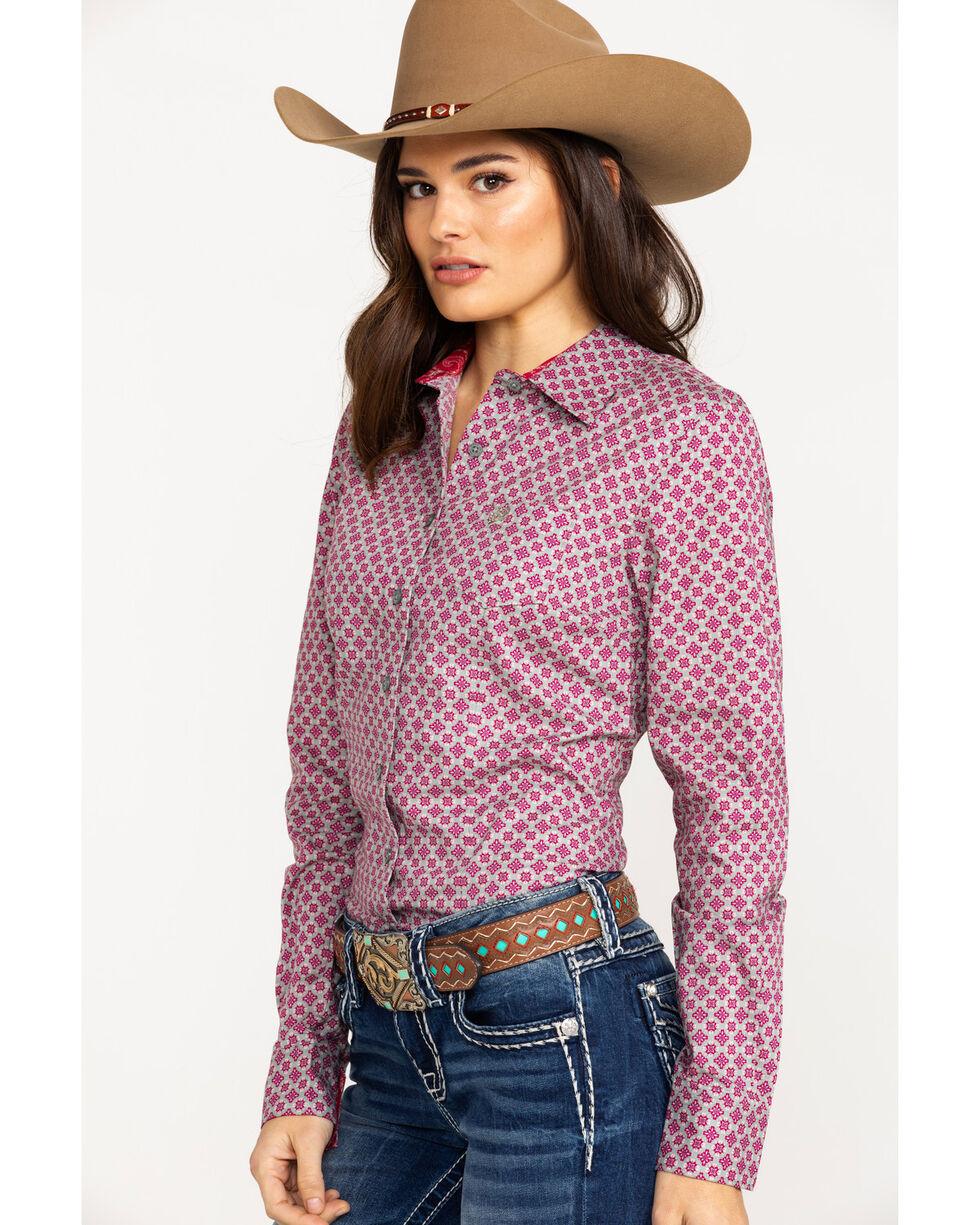 Cinch Women's Diamond Geo Print Logo Long Sleeve Western Shirt , Multi, hi-res