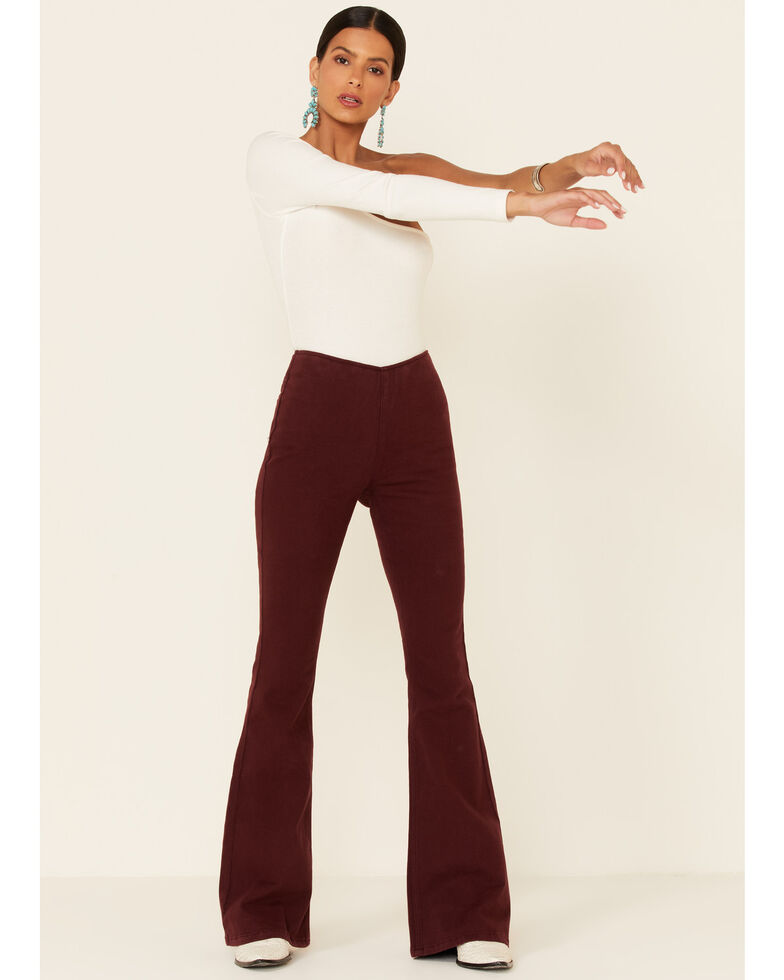 Panhandle Women's Plum Bargain Bell High Rise Flare Jeans, Burgundy, hi-res