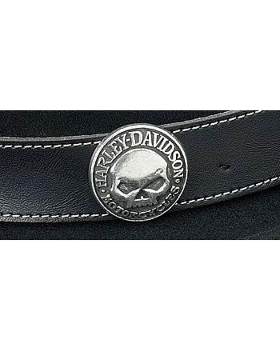Harley Davidson Skull Concho Wool Felt Crushable Fedora, Black, hi-res