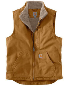 Carhartt Men's Brown Washed Duck Sherpa Lined Mock Neck Work Vest - Big , Brown, hi-res
