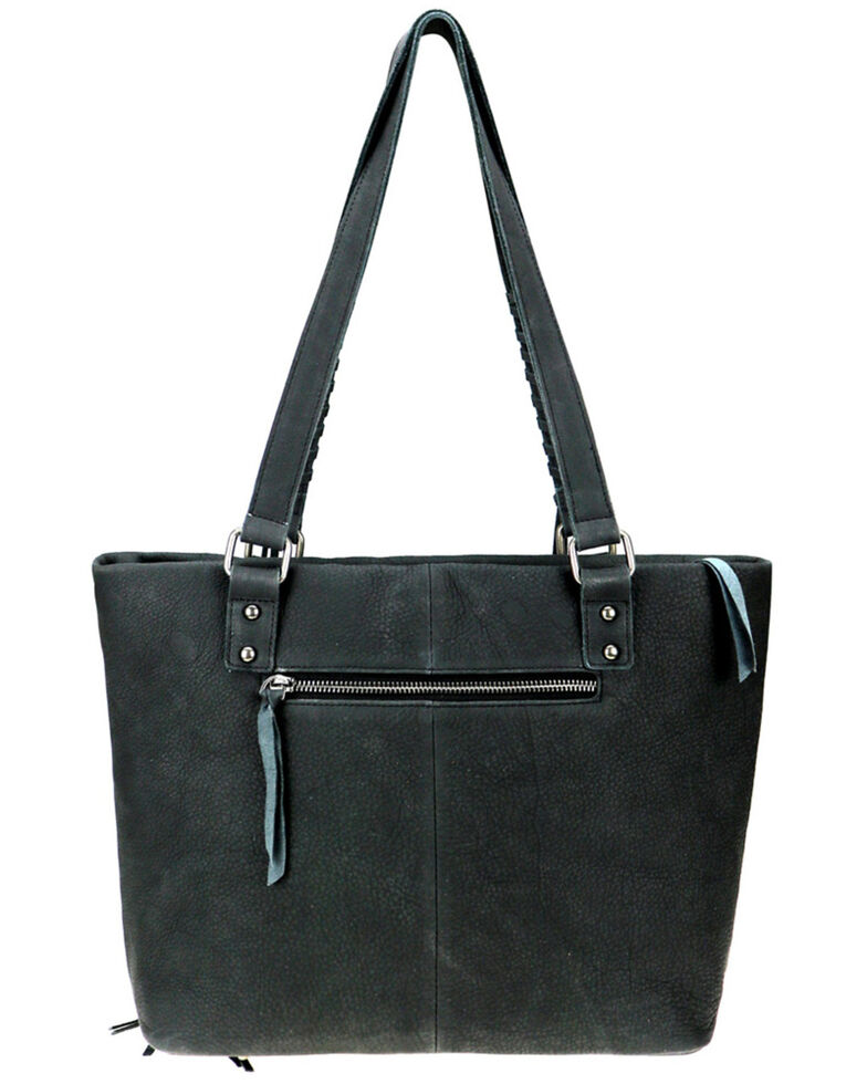 Delila by Montana West Women's Black Leather Fringe Hair-On Tote, Black, hi-res